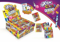 X-TREME COLORS PENCIL GUM+CARDS 35g Balenie:18ks x 12display